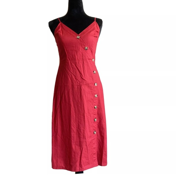 Express Dresses & Skirts - Express Red Side Button Midi Sun Dress Cotton